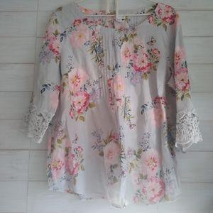 J. Jill linen boho pink Tunic top blouse